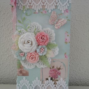 Card Made With Diemond Dies Realistic Roses, nature's Flourish, Small Butterfly, and Fern Leaf Dies