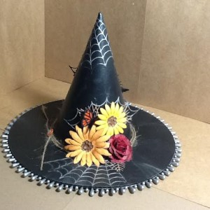 Witch Hat Made with Diemond Dies Sunflower Die, Spooky Spiderweb Die, Monarch Butterfly Die Set, Pine Branch Die, and Realistic Roses Die