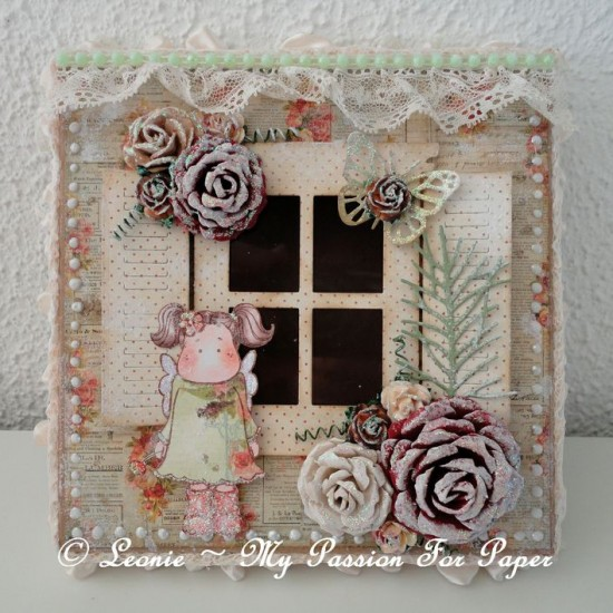 Altered Pizza Box Created Using the Diemond Dies Realistic Roses Die Set, Small Monarch Butterfly Die Set and Pine Branch Die Created by Leonie