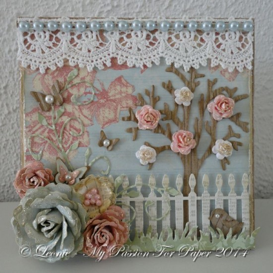 Card Created With Diemond Dies Realistic Roses Die Set, Mini Must Haves Die Set, Grass Border, Picket Fence, Bare Tree, and Fancy Flourish Die created by Leonie