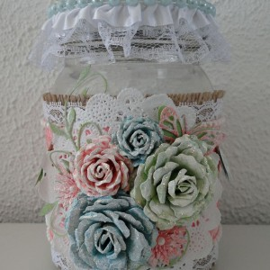 Altered Jar made with Diemond Dies Realistic Roses Die Set, Small Monarch Butterfly Die Set, Fancy Flowers Die Set, Mini Must Haves Die Set, and Fancy Flourish Die Created by Leonie