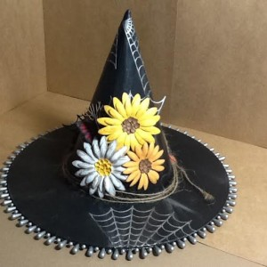 Witches Hat Using Diemond Dies Sunflower Die, Monarch Butterfly Die Set, Pine Branch Die, and Spooky Spider Web Die