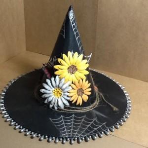 Witches Hat Using Diemond Dies Sunflower Die, Monarch Butterfly Die Set, Pine Branch Die, and Spooky Spider Web Die