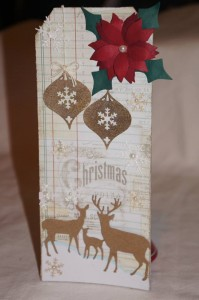 Tag Created With Diemond Dies Poinsettia, Deer Trio, and Vintage Christmas Ornament Dies