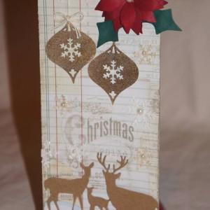 Tag Created With Diemond Dies Poinsettia, Deer Trio, and Vintage Christmas Ornament Dies