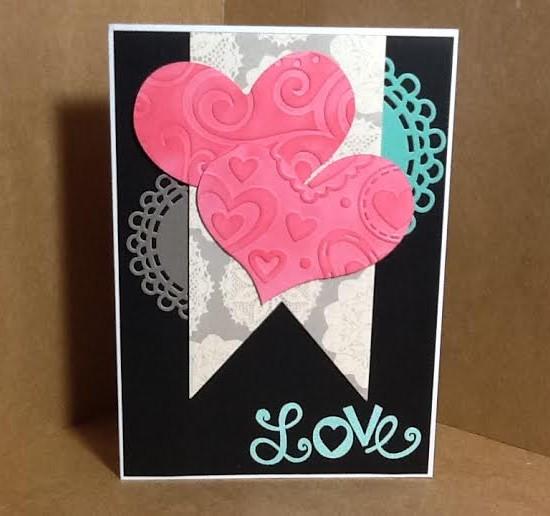 Valentine Card Using Diemond Dies Nesting Fishtail Banners Die Set