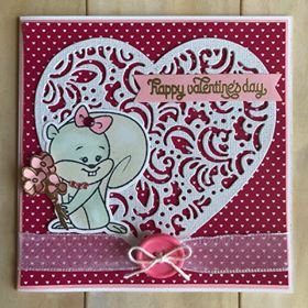 Card Made By Rosa Vera Using Diemond Dies Filigree Heart Die