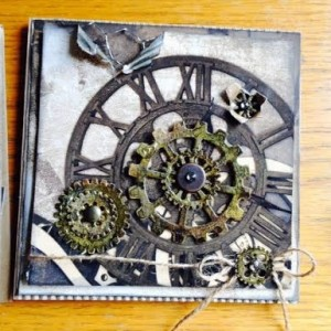 Card Made With Diemond Dies Steampunk Gears Die Set Created by Karen Stowell
