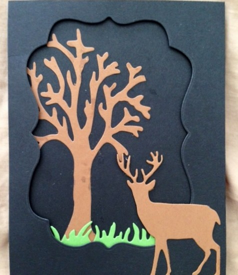 Card Made With Diemond Dies Deer Trio Die, Bare Tree Die, Grass Border Die, and Labels 1 Die Set Created by Kerri-Jo Sharp