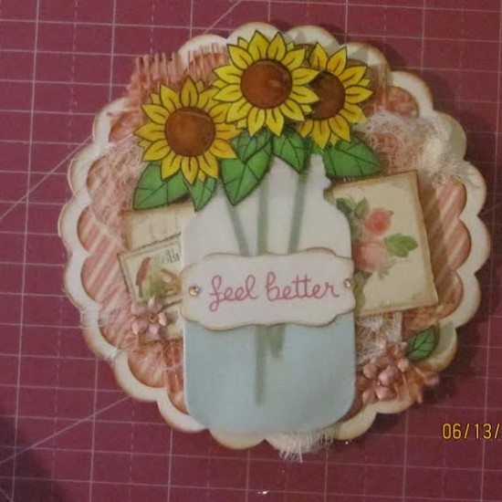 Card Made With Diemond Dies Mason Canning Jar Die and Nesting Scallop Circles Die Set