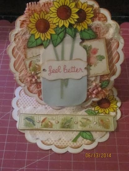 Easel Card Made With Diemond Dies Mason Canning Jar Die and Nesting Scallop Circles Die Set
