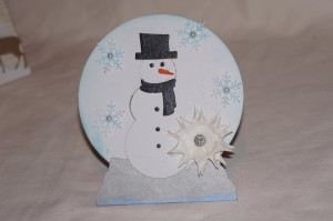 Winter Themed Card Created With Diemond Dies Build A Snowman Die