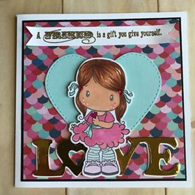 Card Made by Rosa Vera Using Diemond Dies Bold Love Die and Inside and Out Stitched Hearts Die Set