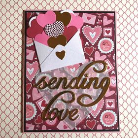 Card Made by Rosa Vera Using Diemond Dies Sending Love Die Set