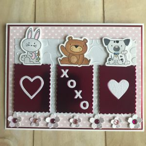 Card made by Rosa Vera Using Diemond Dies Sending Love Die Set and Cherry Blossom Branch Die Set