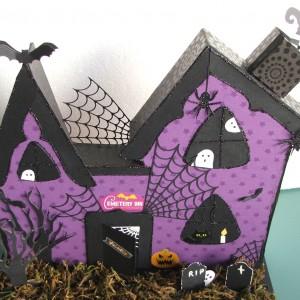 Cemetary Inn - Altered Project using Diemond Dies Halloween Dies - Created by Gina Ortiz
