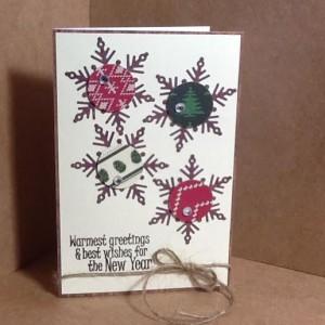 Ugly Sweater Christmas Card Using Diemond Dies Winter Snowflake Die Set