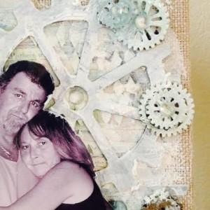 Canvas Made With Diemond Dies Steampunk Gears Die Set and Steampunk Gears Mini Album Die Set