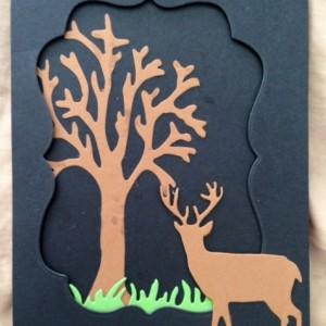 Card Made With Diemond Dies Deer Trio Die, Bare Tree Die, Grass Border Die, and Labels 1 Die Set Created by Kerri-Jo Sharp