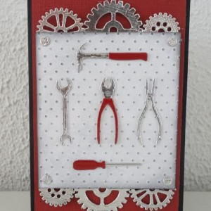 Card Made With Diemond Dies Steampunk Gears and Mr. Fix It Tools Set Created by Leonie