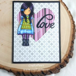 Card Created by CraftyPaws using Diemond Dies Sending Love Die Set and Inside and Out Stitched Hearts Die Set