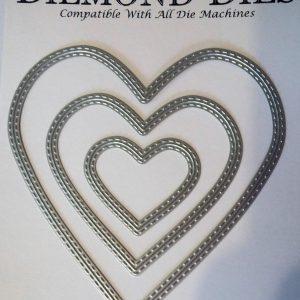 Diemond Dies Inside and Out Stitched Hearts Die Set